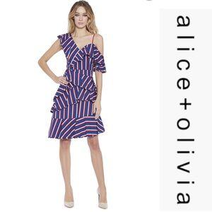Alice+Olivia Asymmetric Ruffled Striped Dress*NWT